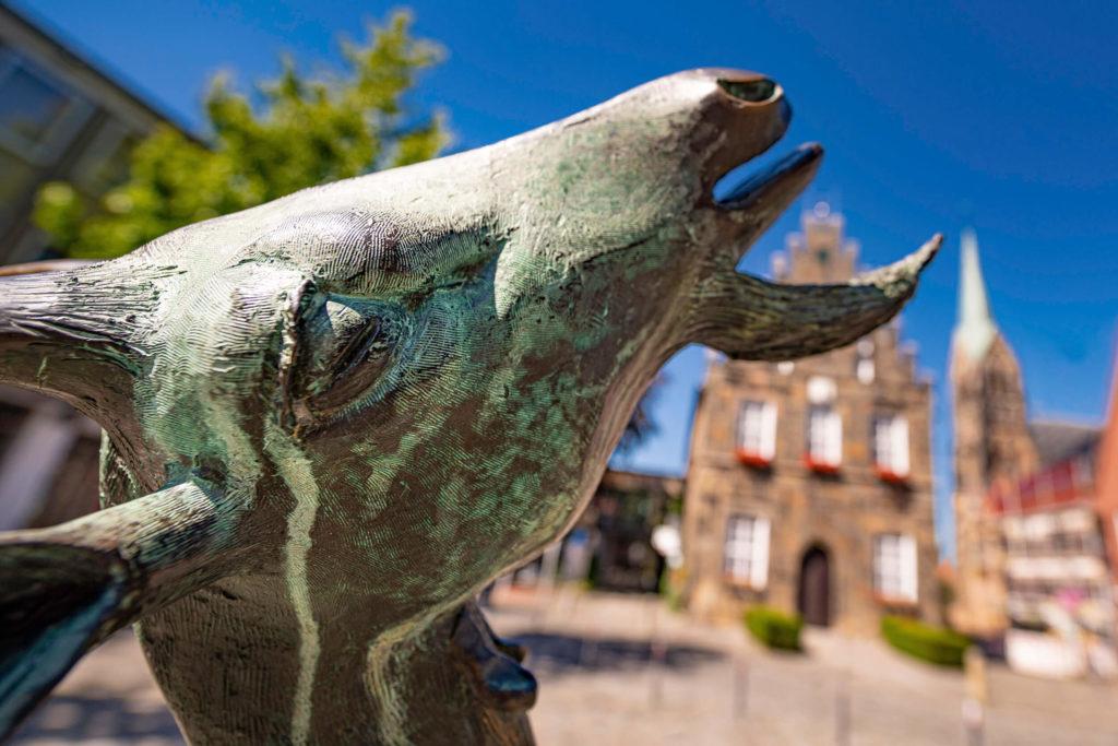 Ziege am Schüttorfer Brunnen als Symbolbild für Tourismus